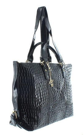 SANDPIPER Faux Leather Handbag in Black Croc Print by Ruby Rocks Boutique
