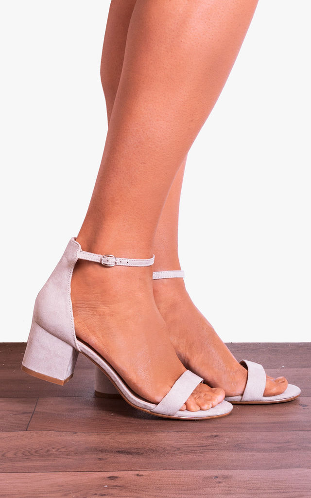 Dove Grey Ankle Strap Low Heeled Heels Peep Toes Strappy Sandals by Shoe Closet
