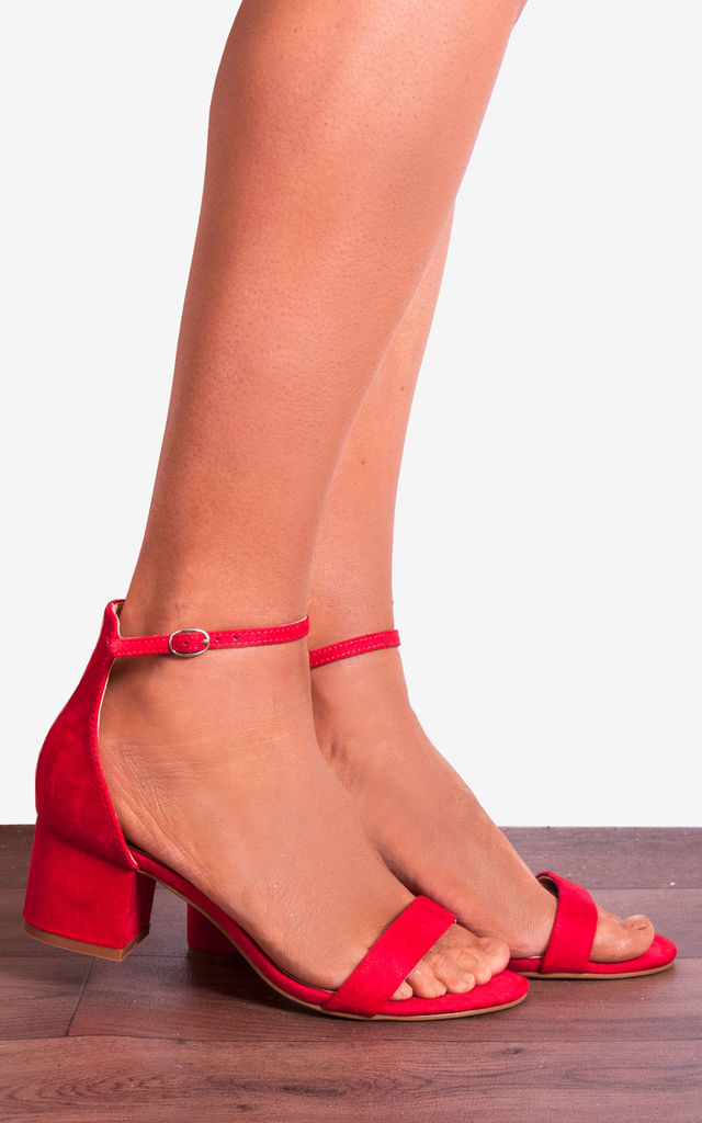 Red Ankle Strap Low Heeled Heels Peep Toes Strappy Sandals by Shoe Closet