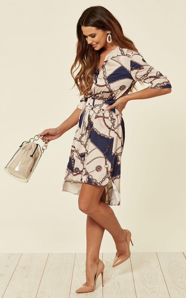 Chain Print Shirt Dress With Belt Navy by URBAN TOUCH