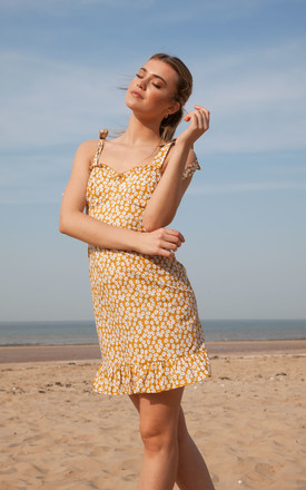 Mustard Ditsy Floral Cami Mini Dress by Styled In London Product photo