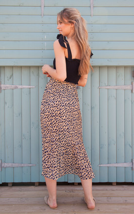 Leopard Pleated Chiffon Midi Skirt by Styled In London