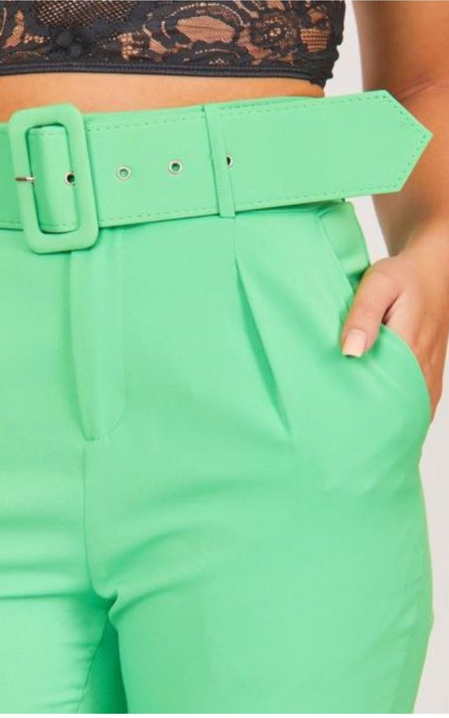 Green Tailored Belted Cigarette Trousers by Hachu