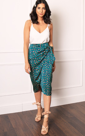 Satin Leopard Print Wrap Over Curve Hem Midi Skirt in Green & Coral by One Nation Clothing