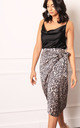 Satin Leopard Print Wrap Over Curve Hem Midi Skirt in Champagne Gold by One Nation Clothing
