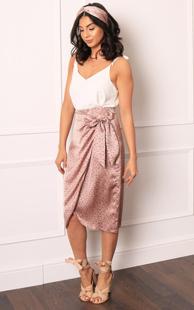 Satin Irregular Polka Dot Wrap Over Curve Hem Midi Skirt In Dusky Pink & Navy by One Nation Clothing Product photo