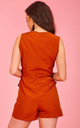 Rust Orange Belted Utility Playsuit by Hachu