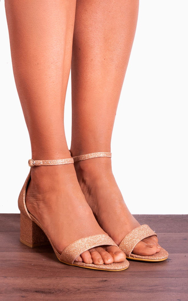 c6a603c51c620 Blush Pink Glitter Low Heeled Ankle Straps Peep Toes Strappy Sandals by  Shoe Closet