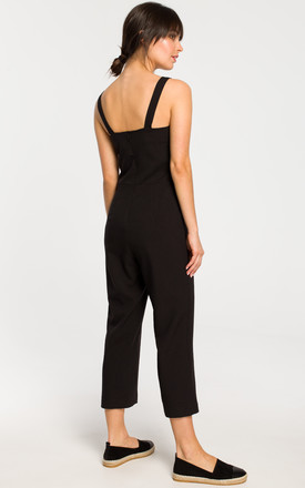 Sleevless Jumpsuit with 7/8 Leg in Black by MOE