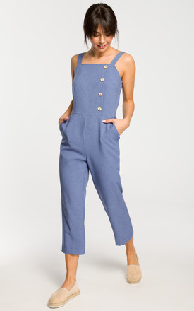 Sleevless Jumpsuit with 7/8 Leg in Blue by MOE