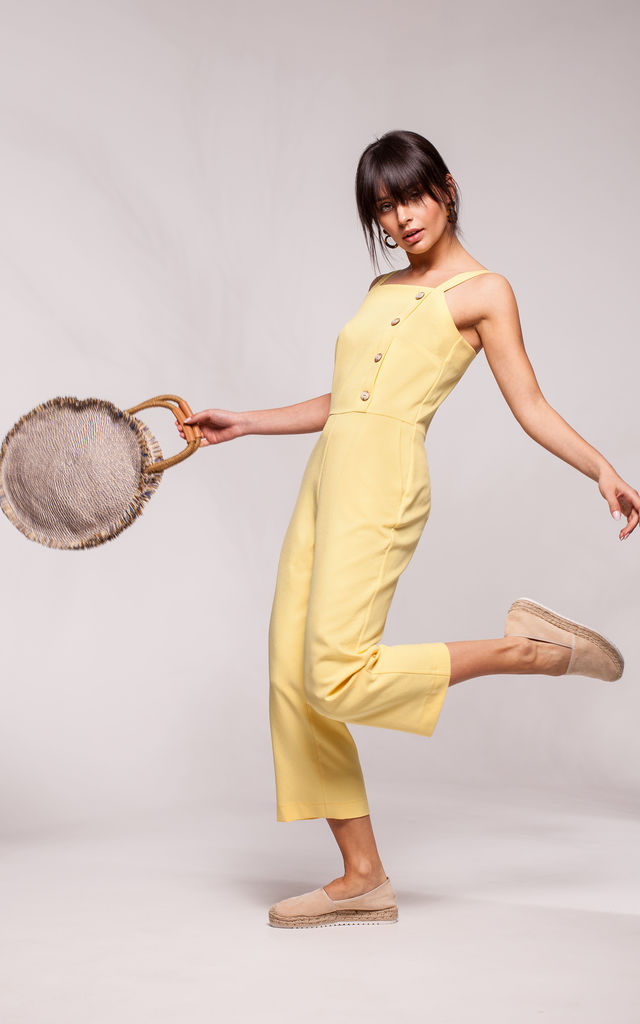 Sleevless Jumpsuit with 7/8 Leg in Yellow by MOE