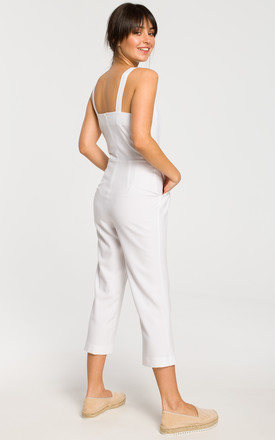 Sleevless Jumpsuit with 7/8 Leg in White by MOE