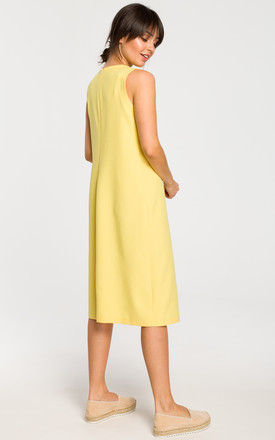 Sleevless Midi Skater Dress in Yellow by MOE