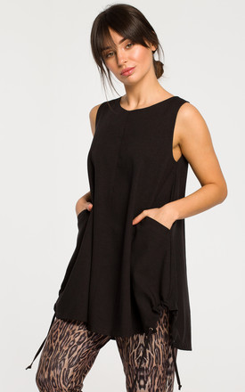 Long Loose Sleeveless Top in Black by MOE