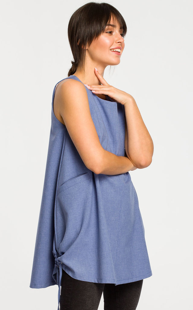 Long Loose Sleeveless Top in Blue by MOE