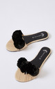 Raffia Single Strap Slider Sandals with Black Pom Poms by Pretty You London
