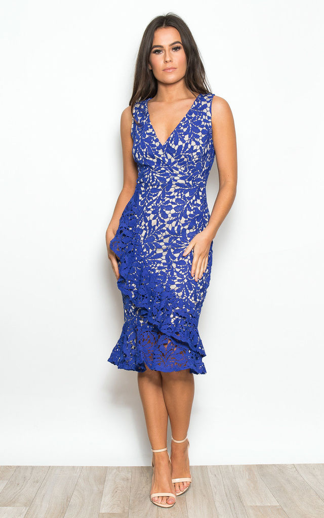 ce29a78eae8 Elena Frill Hem Crochet Midi Dress Cobalt by Girl In Mind