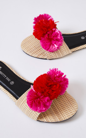 Raffia Single Strap Slider Sandals with Red and Pink Pom Poms by Pretty You London