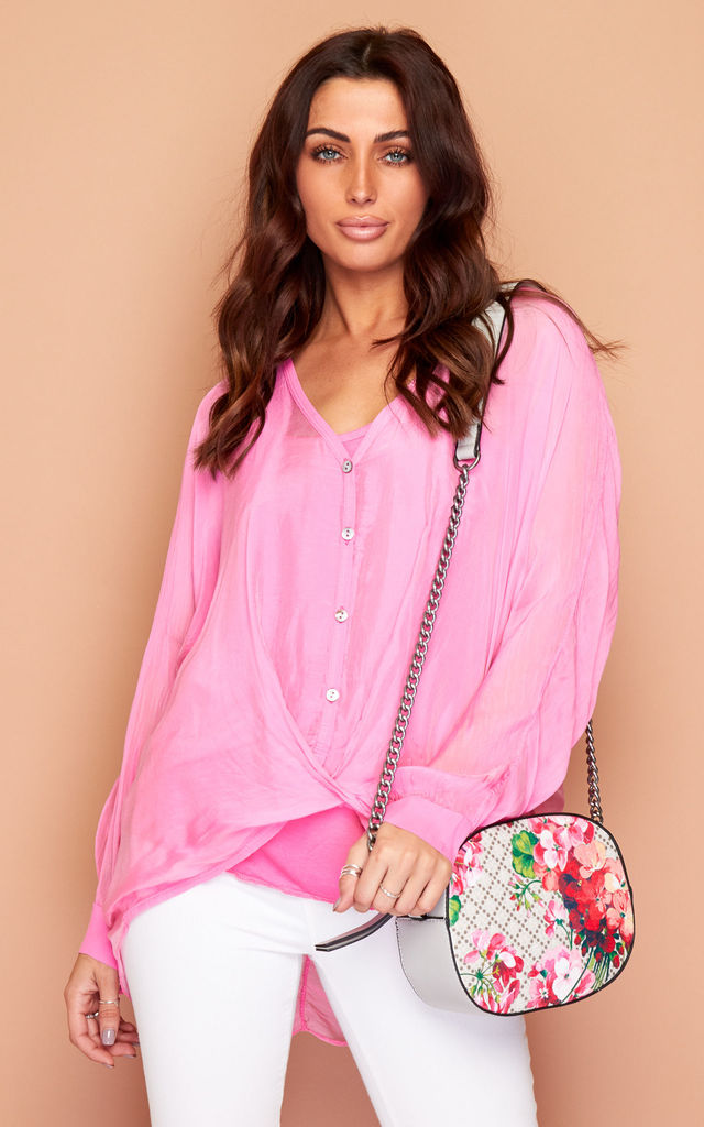 Pink Silk Summer Blouse Top by Wired Angel