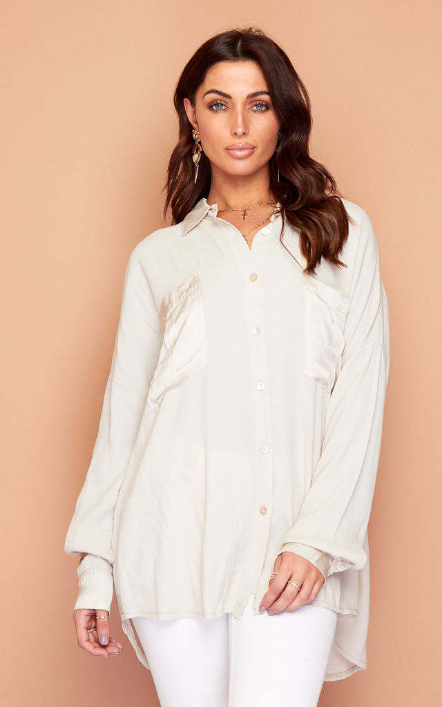Beige Satin Detail Shirt Blouse Top by Wired Angel