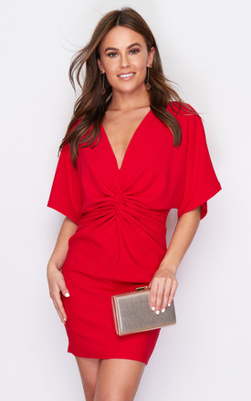 Gabby Twist Front Batwing Mini Dress Red by Girl In Mind Product photo