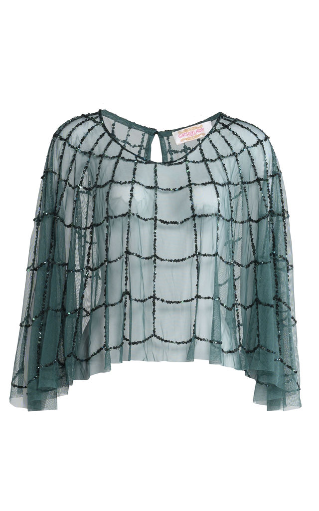Sophie Hand Embellished Cape in Green by Gatsbylady London