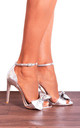 Silver Metallic Bows Barely There Strappy Sandals High Heels by Shoe Closet