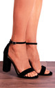 Barely There High Heel Sandals in Black Faux Suede by Shoe Closet