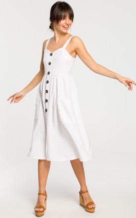 Midi Dress with Side Pockets and Loose Bottom in White by MOE