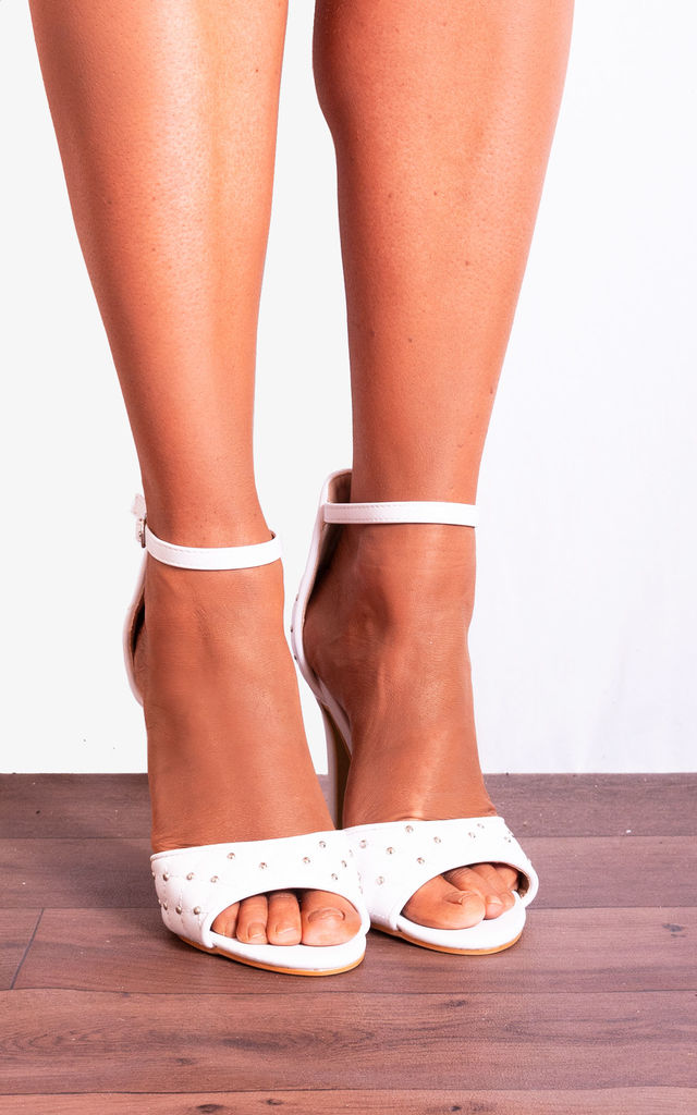 White Studded Cushioned Ankle Strap Stilettos Strappy Sandals High Heels by Shoe Closet