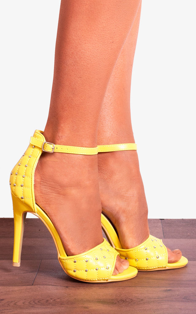 Strap Yellow High Closet Heels Strappy Shoe Cushioned Stilettos By Studded Ankle Bright Sandals PXuOikZ
