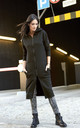 Long Zipped Hoodie with Pockets in Black by Makadamia