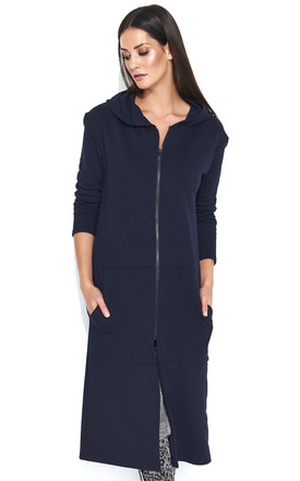 Long Zipped Hoodie with Pockets in Navy Blue by Makadamia