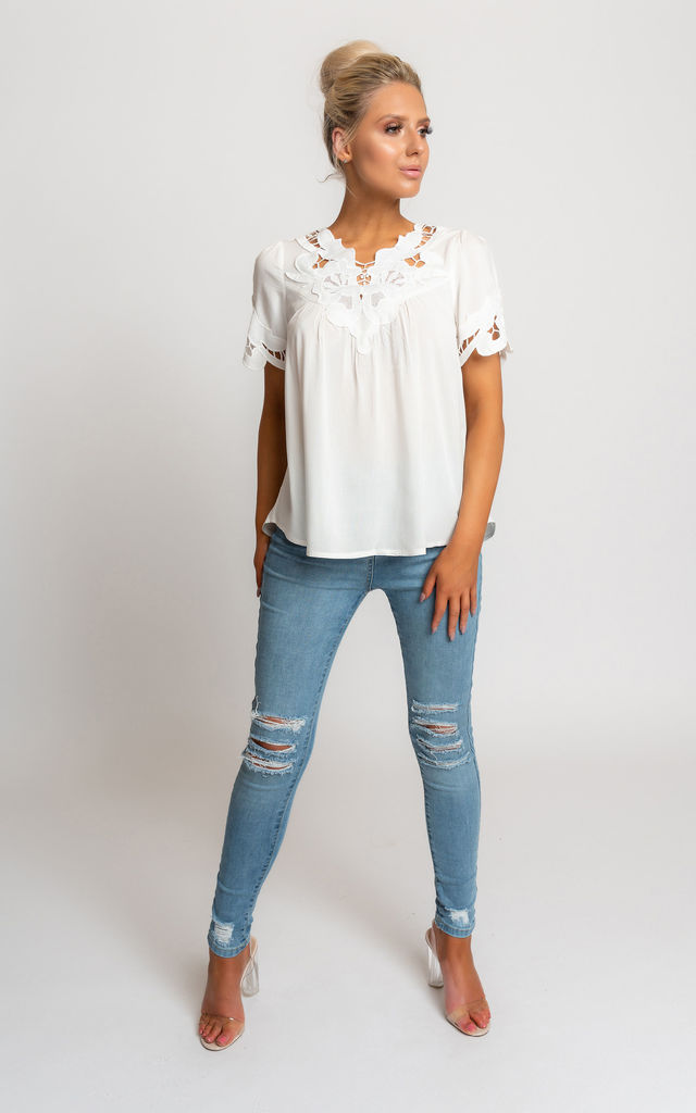 Rochelle short sleeve top white by Miss Attire