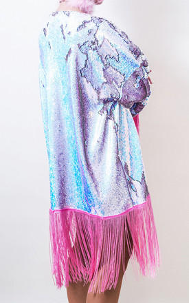 Festival Flip Sequin Fringed Short Kimono in Pastel by Loonigans