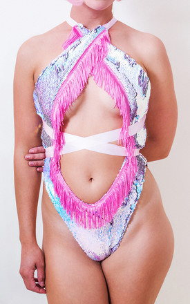 Festival Flip Sequin Fringed Wrap Leotard in Pastel by Loonigans
