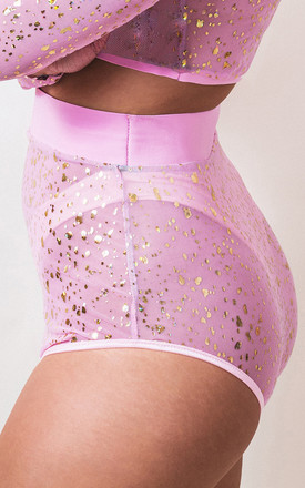 Festival Sheer Mesh High Waisted Hot Pants in Pink/Gold by Loonigans