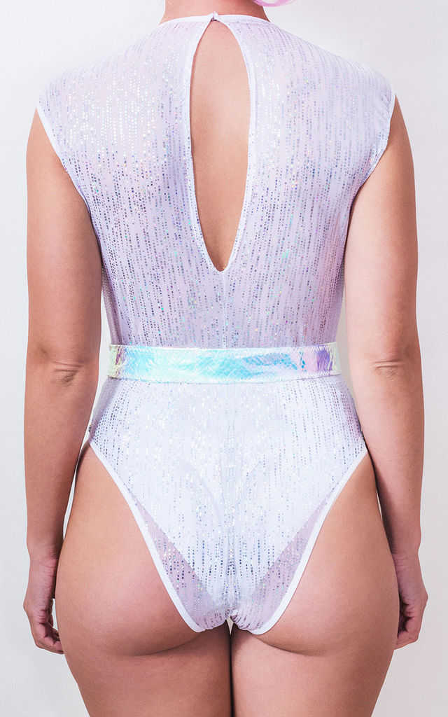 Festival Sheer Mesh High Rise Leotard in White/Silver by Loonigans