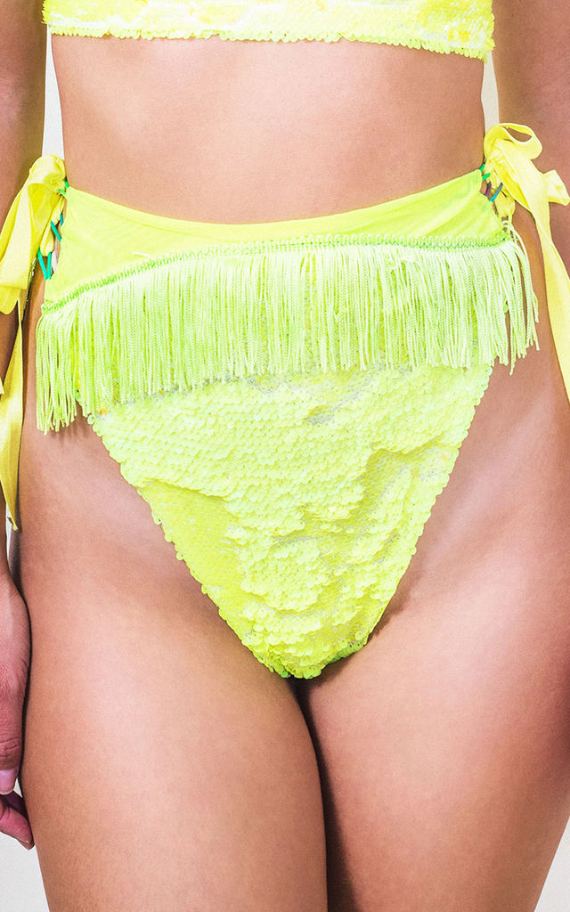 Festival Neon Flip Sequin High Rise Knicker in Neon Yellow by Loonigans