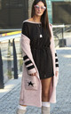 Longline Hooded Cardigan with Pockets in Pink by Makadamia
