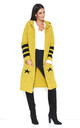 Longline Hooded Cardigan with Pockets in Yellow by Makadamia