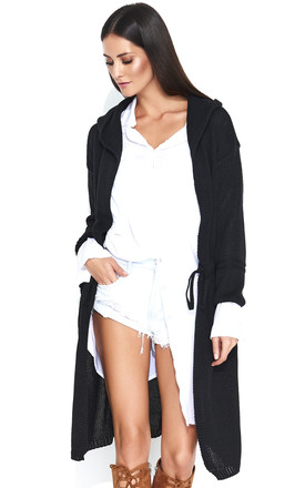 Long Hooded Cardigan in Black by Makadamia