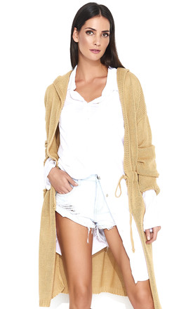 Long Hooded Cardigan in Camel by Makadamia