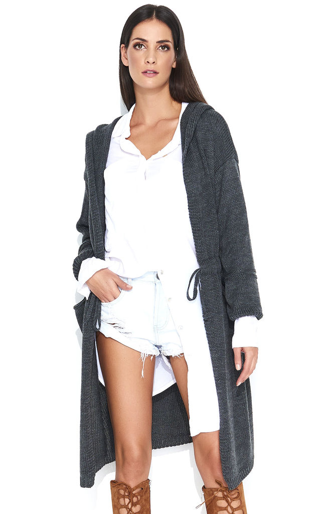 Long Hooded Cardigan in Dark Graphite Grey by Makadamia