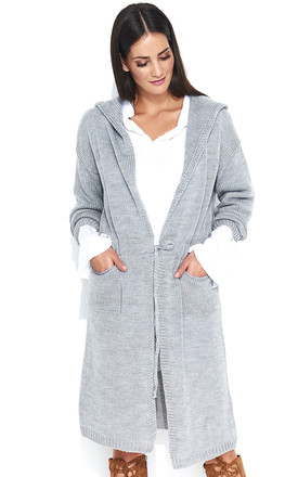 Long Hooded Cardigan in Light Grey by Makadamia