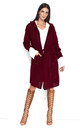 Long Hooded Cardigan in Maroon by Makadamia