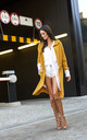 Long Hooded Cardigan in Mustard Yellow by Makadamia