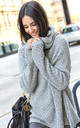 Oversized Sweater with Turtleneck in Light Grey by Makadamia