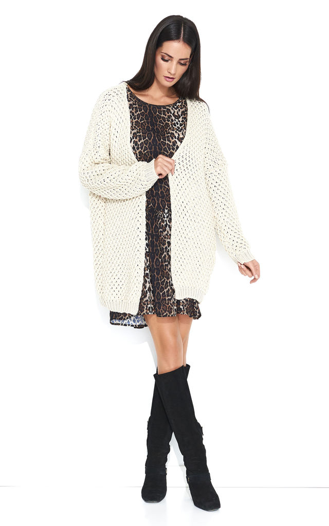Open Front Oversized Cardigan in Beige by Makadamia