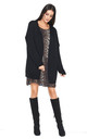 Open Front Oversized Cardigan in Black by Makadamia